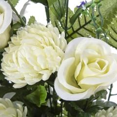 Todos los santos. ramo artificial flores rosas blancas y crisantemos 65 en lallimona.com (detalle 1)