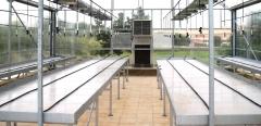 Mesas de cultivo con fondo de policarbonato