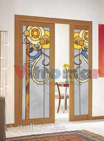 Foto vidrieras de dise o moderno para puertas de paso - Vidrieras para puertas ...
