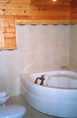 Aseo con bañera casa de madera