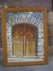 Acrilico sobre madera,puerta antigüa de bonansa(huesca)españa