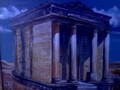 Acrilico sobremadera de una t�mba Romana del pueblo de FABARA(ZARAGOZA)Espa�a