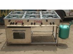 Cocina a gas de petroleo diesel de 06 hornillas con horno