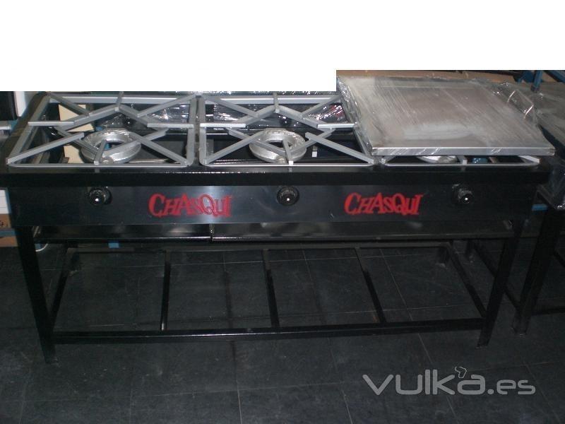 Foto cocina industrial de 03 hornillas con plancha portatil - Plancha de cocina industrial ...