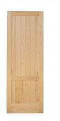 Puerta de madera de pino modelo machiembrado dos cuadros.