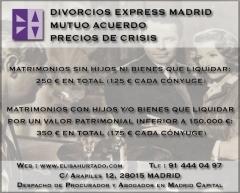 Divorcio Mutuo Acuerdo madrid Abogado Procurador de los Tribunales