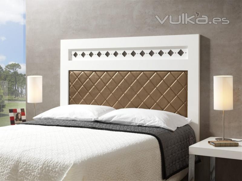 Foto cabecero de cama lacado blanco tapizado - Cabeceros de cama blancos ...