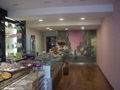 Reforma de local, paredes y techos en pladur, acabadas en pintura plastica lisa, mural en pared