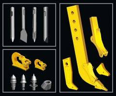 Punteros para martiloos hidr�ulicos, brazos de ripper y componentes, ganchos soldables homologados