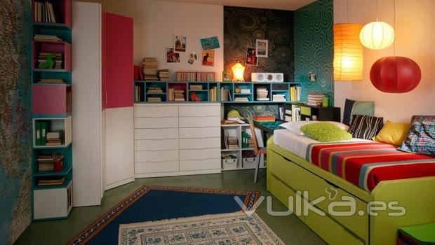 Foto mueble juvenil en color verde del catalogo aire for Catalogo mueble juvenil