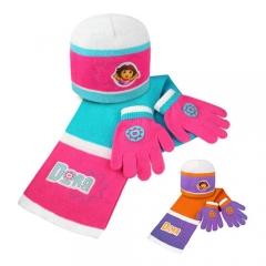 Set  Dora:gorro, bufanda y guantes. Producto licenciado. Pack 24 unidades. Ref. BORNÑLI14