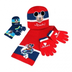 Set  Mickey:gorro, bufanda y guantes. Producto licenciado. Pack 24 unidades. Ref. BORNÑLI12