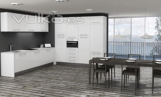 Foto cocina blanca alto brillo - Cocinas blancas brillo ...