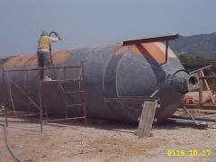 limpieza de silo 16mt con chorro de arena en Burgos