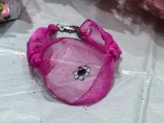 pulseras en organza con aplicaciones en cristal de swarovski, pulseras fashion victim, pulseras ni�a