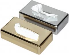 Dispensador de acero en cromo o dorada para pañuelos