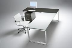 Despacho mesa de cristal con cromo