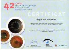 Diploma 42� congreso societat catalana d`oftalmolog�a. noviembre 2011. barcelona.