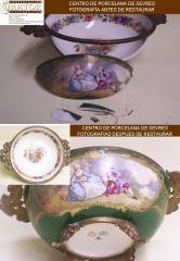 Restauración de porcelana. Proceso de restauración de un centro de porcelana de Sevres