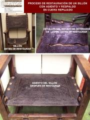 Restauración de piel. Proceso de restauración de un sillón de cuero repujado