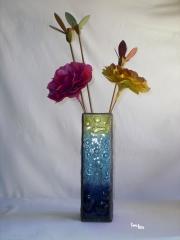 Florero vidrio fundido y emplomado. fusing