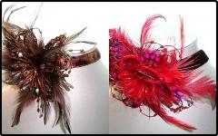 Bella gargantilla de importaci�n de moderno dise�o con plumas y cristal , cierre posterior , 2 vari