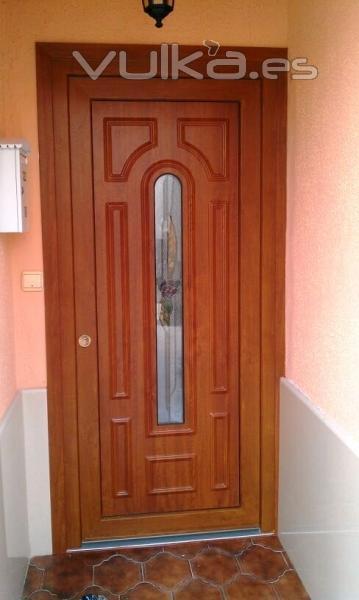Foto puerta en color roble dorado con panel con vidrio for Modelos de puertas madera con vidrio