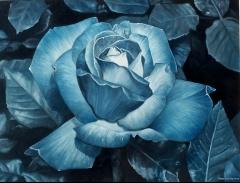 Flor., rosa azul. �leo sobre lienzo. 65x50 cm.  a�o 2005
