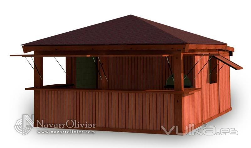Foto chiringuito modular desmontable de playa for Kioscos de madera baratos