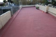 Terraza realizada con corcho proyectado