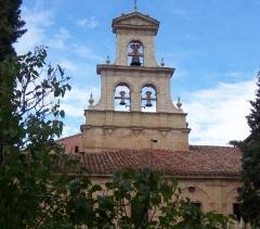 Monasterio de cañas.campanario espadaña reconstruido por completo en piedra natural.