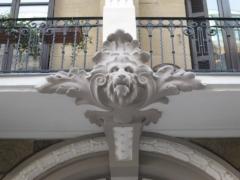 Detalle de restauraci�n de fachada de edificio privado