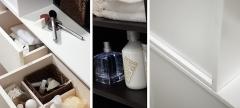 Detalle mobiliario de baño dica modelo vita nata y roble wengue