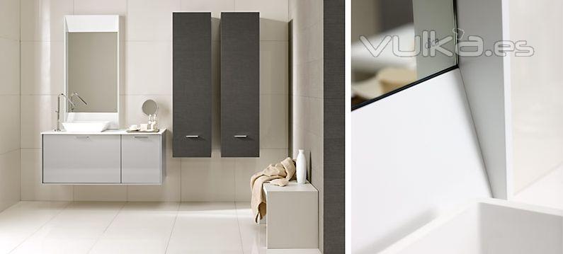 Muebles De Baño Gris Ceniza: Mobiliario de baño Dica modelo Vita gris medio brillo y lino ceniza