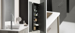 Detalle mobiliario de ba�o dica modelo vita gris medio brillo y lino ceniza