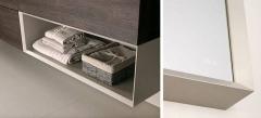 Detalle mobiliario de ba�o dica modelo lush roble tempo oscuro y gris piedra