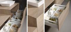 Detalle mobiliario de baño dica modelo lush roble tempo medio y nata