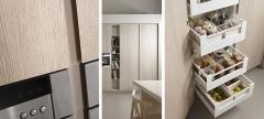 Detalle mobiliario de cocina dica modelo serie 45 roble tempo claro y porcelana