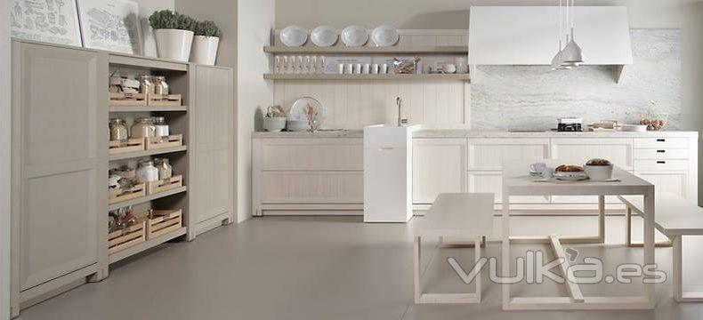 Foto mobiliario de cocina dica modelo arkadia blanco nata con camel for Cuisine couleur sable