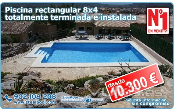 Foto piscina 8x4 rectangular con escalera romana kit de for Piscinas romanas