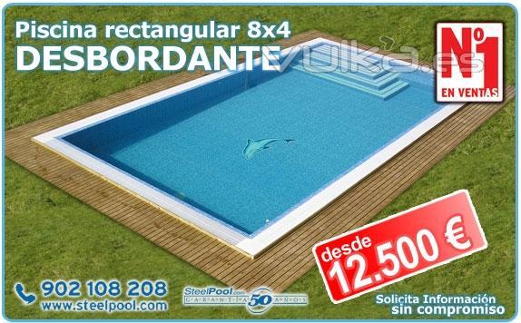 Foto piscina 8x4 rectangular desbordante desde for Piscina 8x4 profundidad