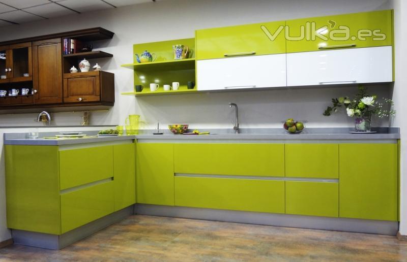 Cocinas Modernas Verde Limon Y Blanco