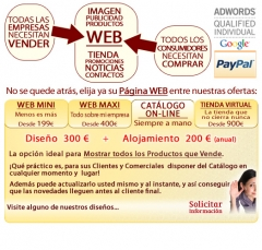 Castell�n - 500 euros� DISE�O WEB CAT�LOGO ONLINE ACTUALIZABLE con DOMINIO, HOSTING Y EMAILS