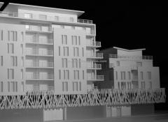Maqueta arquitectura concurso para viviendas en sur de francia. vista lfrontal. maqueta escala 1/200
