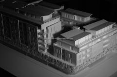 Maqueta arquitectura concurso para viviendas en sur de francia. vista aerea. maqueta escala 1/200