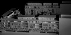 Maqueta arquitectura concurso para viviendas en sur de francia. vista lateral. maqueta escala 1/200