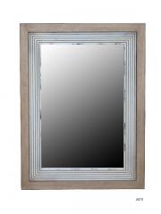 Espejo de pared con marco de madera de fresno decapada y abedul natural.