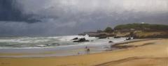 Marina al oleo de la playa del camello en santander