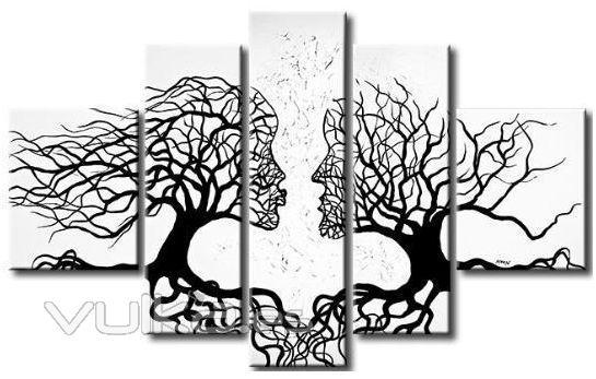 Foto: Cuadro abstracto caras en tono blanco y negro