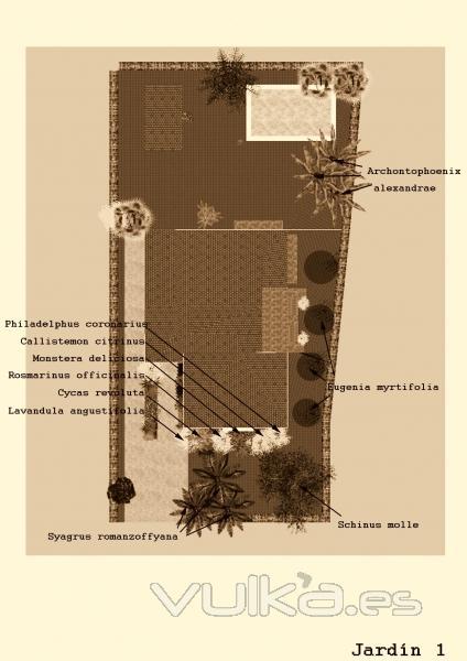 botanic cullera - plano proyecto jardin unifamiliar Urb. Sierramar Benifayó (Valencia)